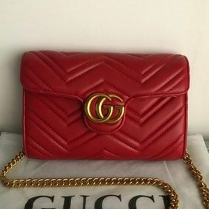 New Gucci Red Matelasse Cross body bag